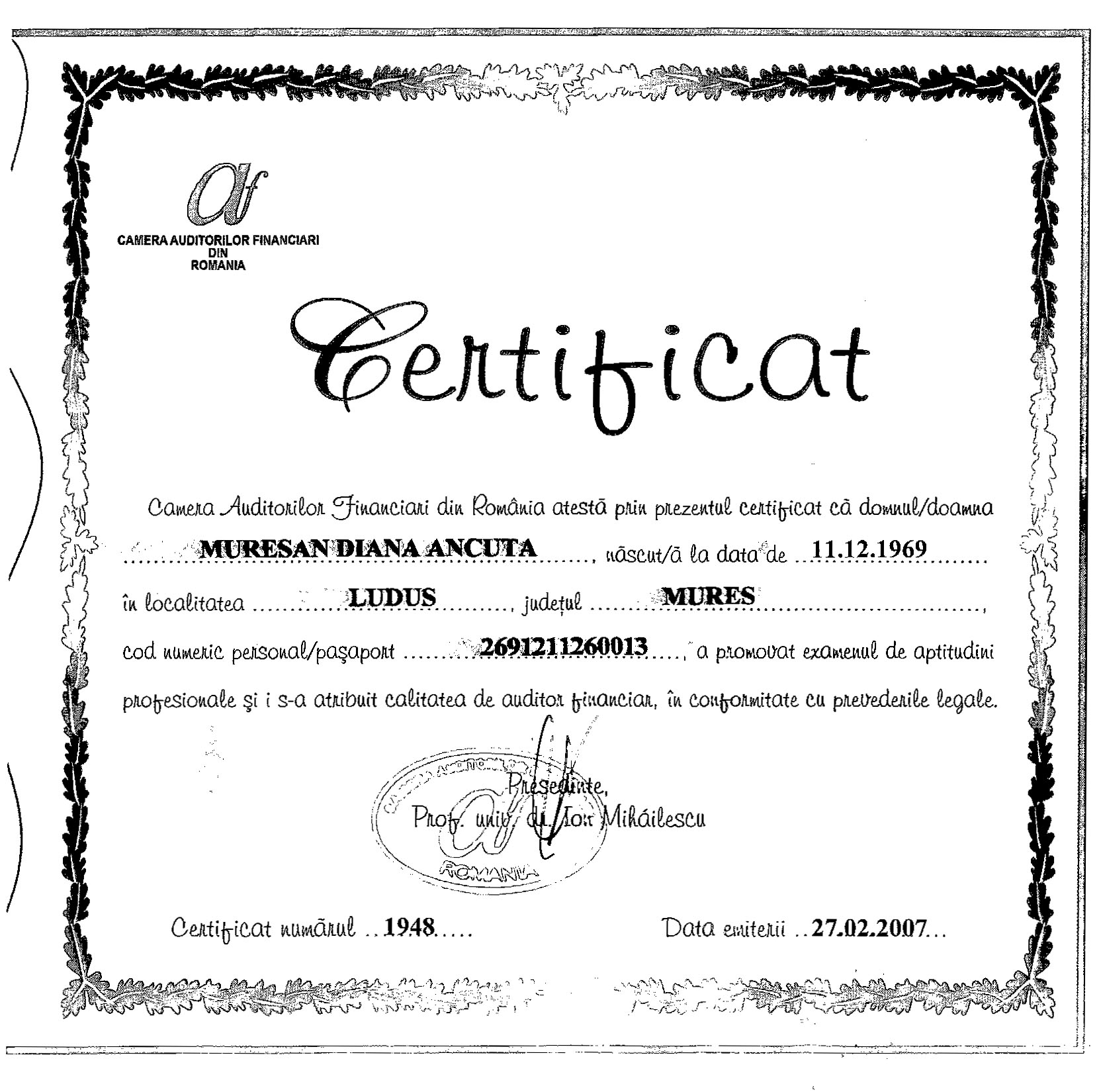 Certificat acreditare Camera Auditorilor Financiari din Romania